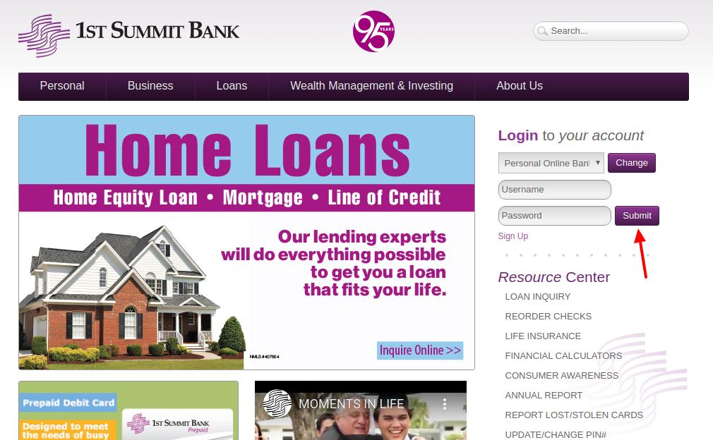1ST SUMMIT BANK Login