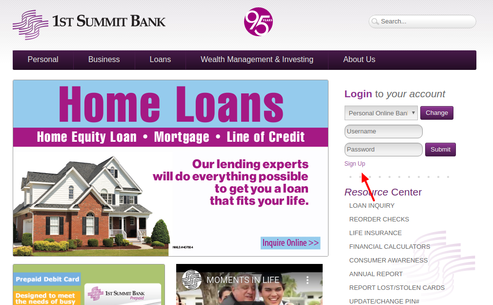 1ST SUMMIT BANK Sign Up
