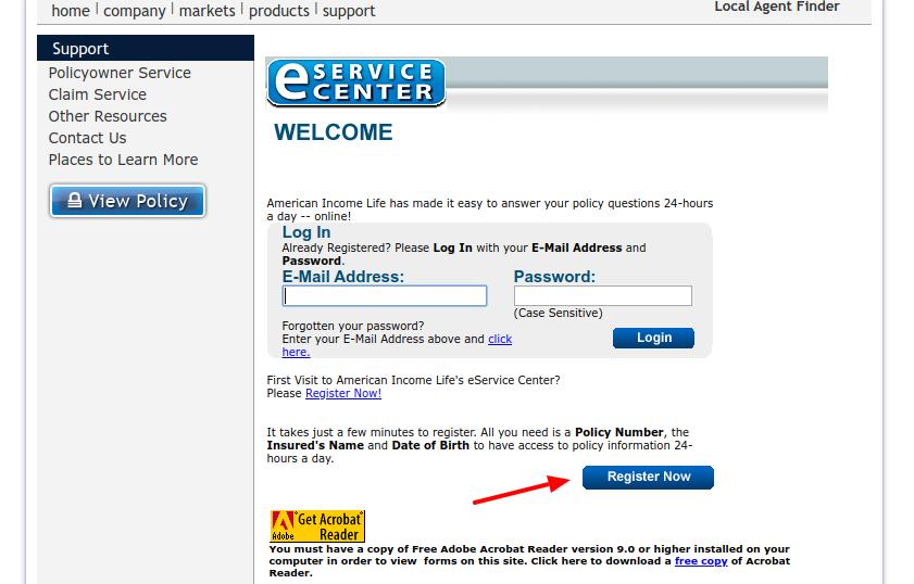 AIL EService Center Register