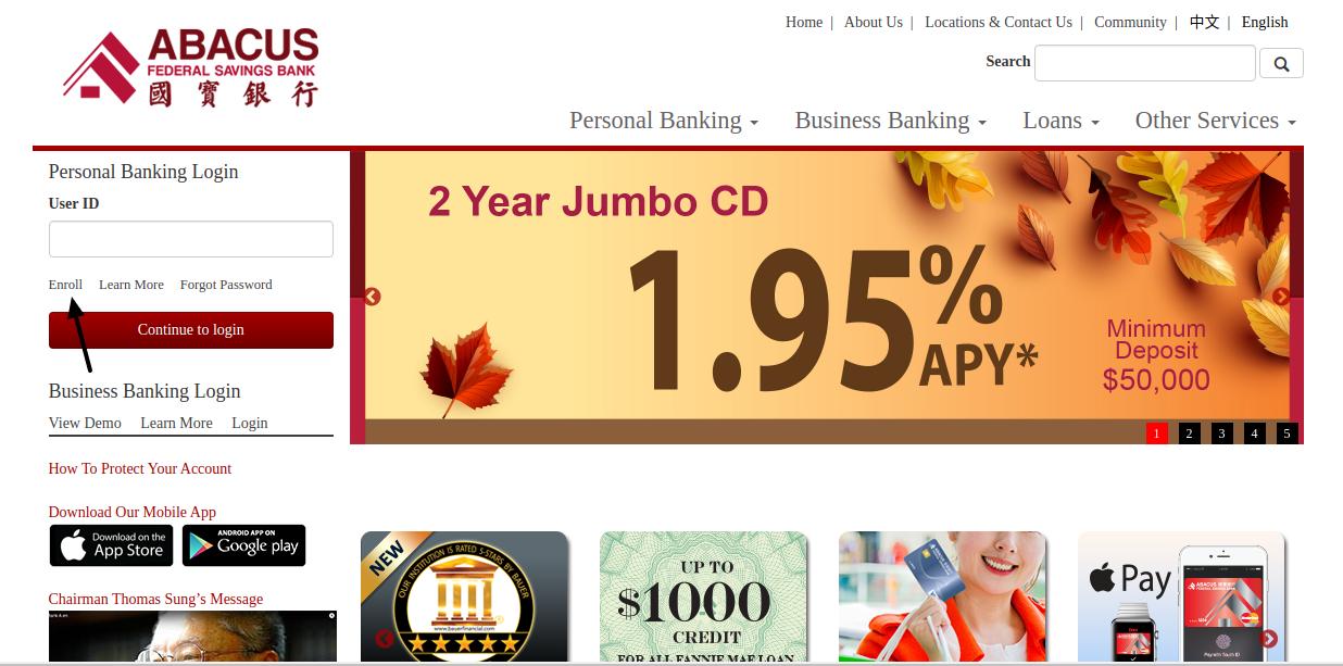 Abacus Federal Saving Bank Enroll