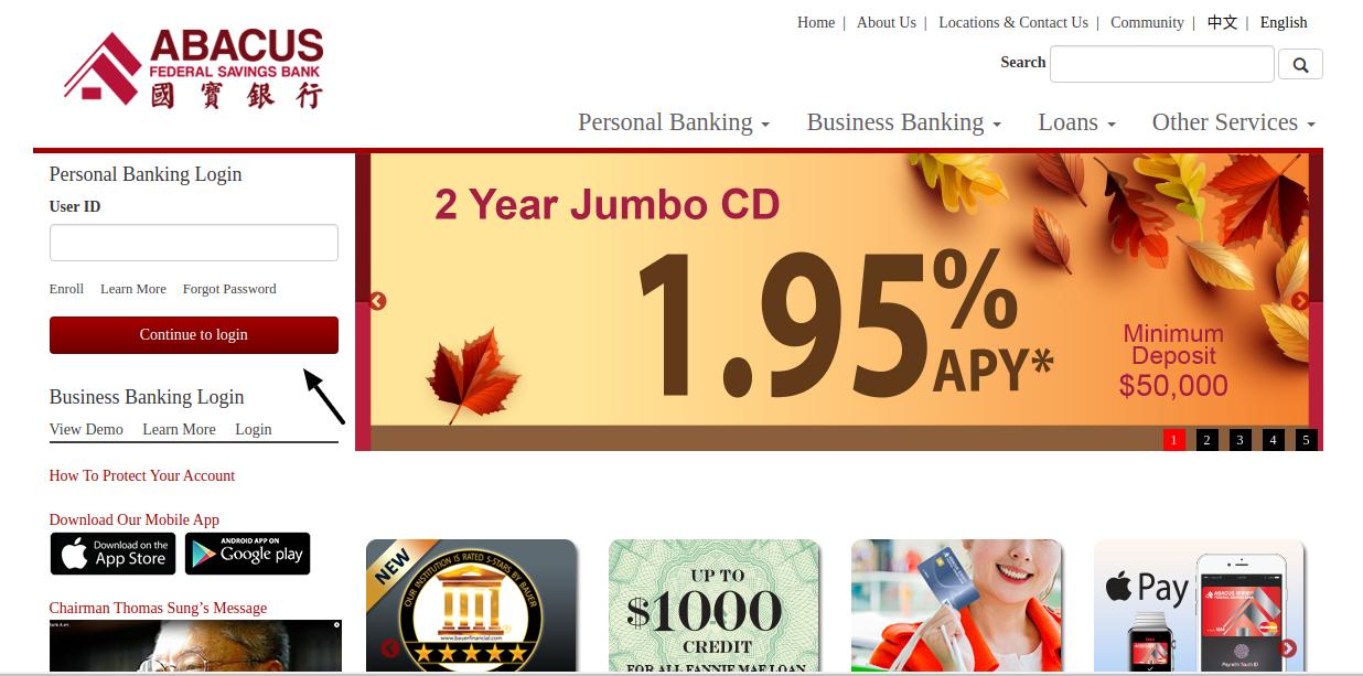 Abacus Federal Saving Bank Login