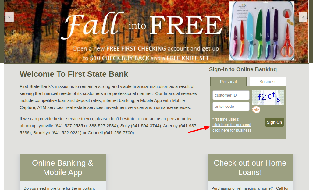 First State Bank Sign Up