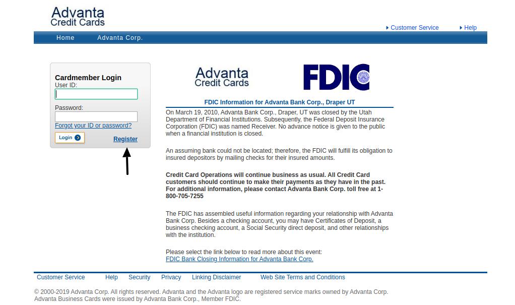Advanta Bank Corp Register