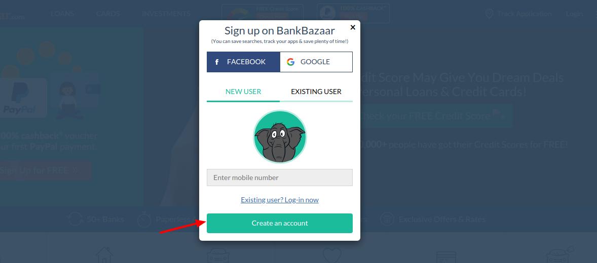 BankBazaar Create Account