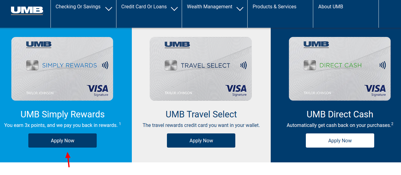 UMB Credit Card Apply