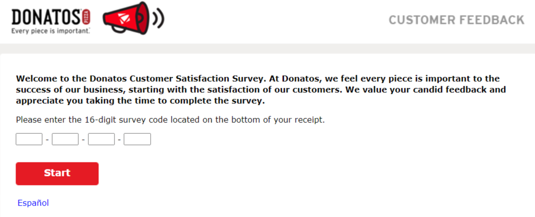 Donatos feedback survey