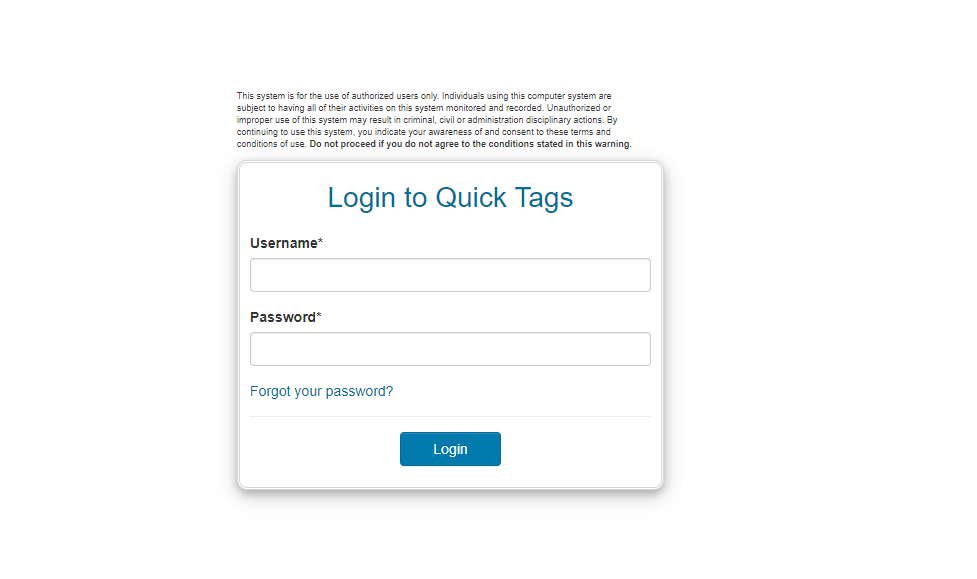 quick tags login